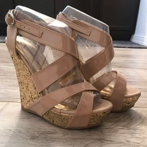 Nude Glitter Wedges